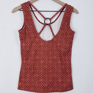 Lucy Activewear Orange Geometric Strappy Tank Top